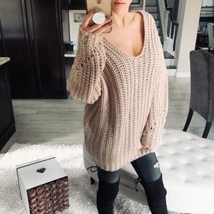 Chunky Knit Oversized Sweater in Blush